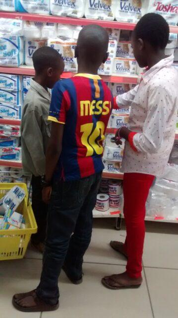 The karatina kids at the supermarket
