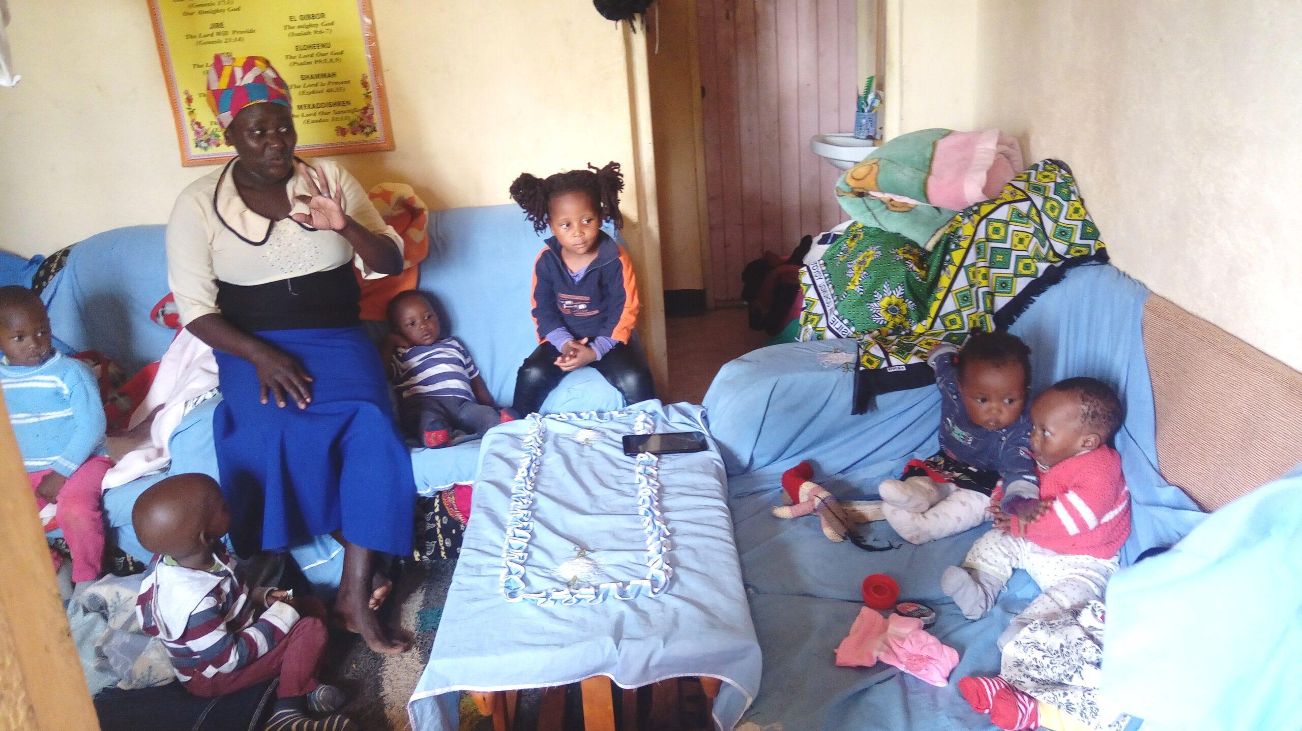 Fridah talking to the kids