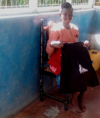 Agnes holding her new skirt