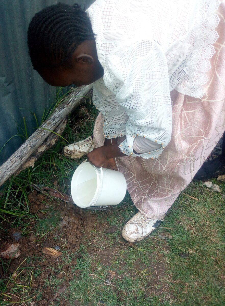 Sharon watering her tree